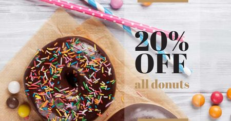 Template di design Sweet glazed Donuts with sprinkles Facebook AD