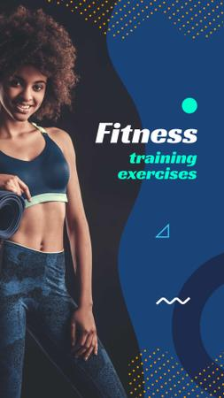 Modèle de visuel Fitness Training Exercises Ad with Fit Woman - Instagram Story