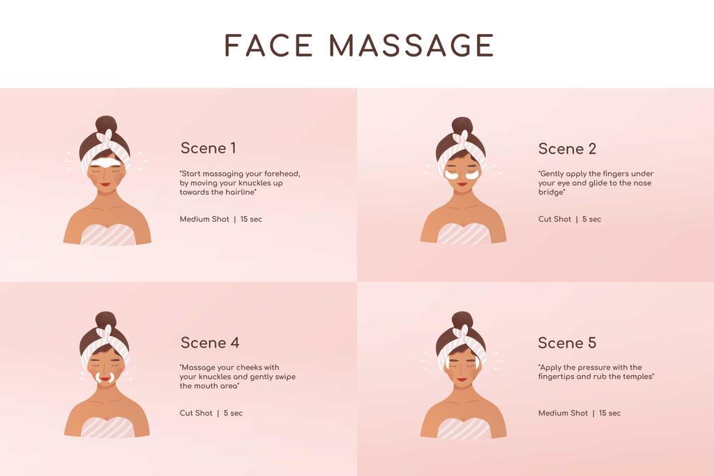Woman relaxing at Face Massage Storyboard Design Template