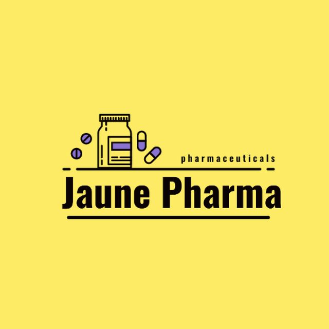 Ontwerpsjabloon van Logo van Pharmaceuticals Ad with Pill Bottle