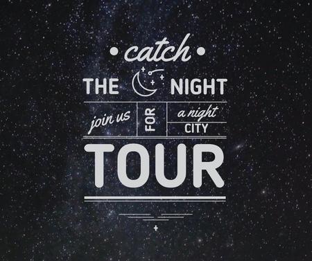 Plantilla de diseño de Night city tour invitation on Starry sky Facebook