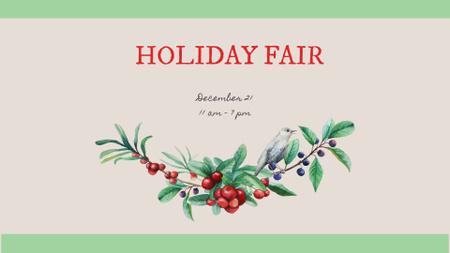 Plantilla de diseño de Cute Wreath of Berries FB event cover