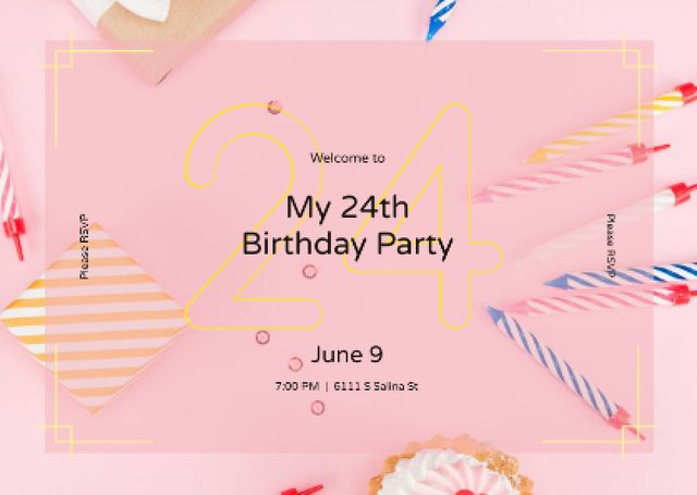 Plantilla de diseño de Birthday celebration Announcement Card