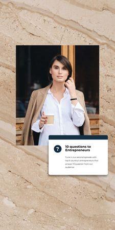 Designvorlage Woman Entrepreneur with coffee für Graphic