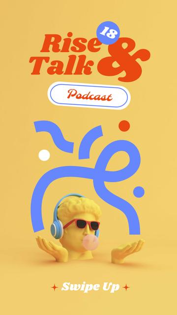 Podcast Topic Announcement with Funny Statue in Headphones Instagram Story – шаблон для дизайна
