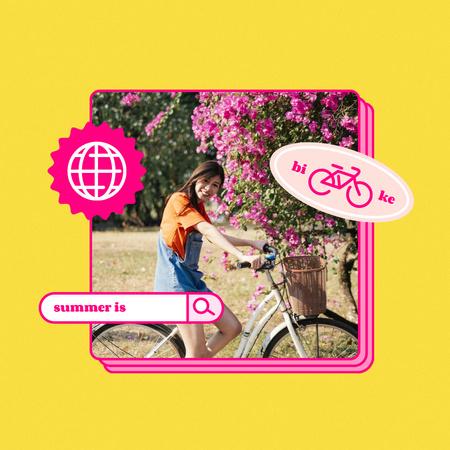 Plantilla de diseño de Summer Inspiration with Girl on Bike Instagram
