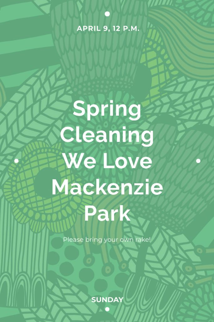 Spring Cleaning Event Invitation Green Floral Texture Tumblr Design Template
