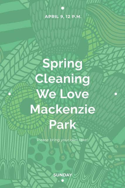Template di design Spring Cleaning Event Invitation Green Floral Texture Tumblr