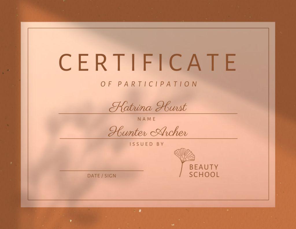 Achievement Award in Beauty School Certificate Design Template