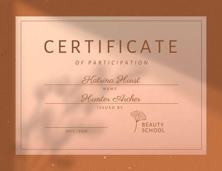 Achievement Award in Beauty School Certificate – шаблон для дизайну