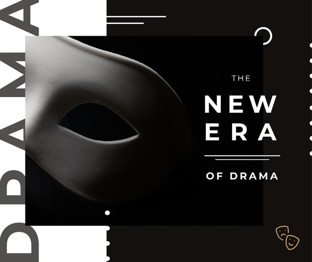 Theatrical Drama white mask Facebook Modelo de Design