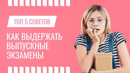 Exams Tips Nervous Girl with Books Youtube Thumbnail – шаблон для дизайна