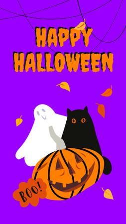 Halloween Greeting with Cute Characters Instagram Story Modelo de Design