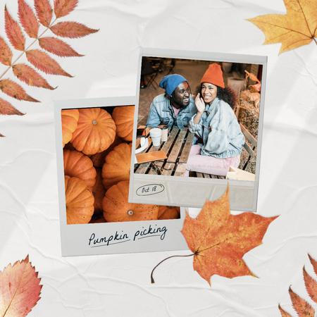 Autumn Inspiration with Cute Couple and Pumpkins Instagram Design Template