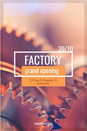 Factory Opening Announcement with Mechanism Cogwheels Pinterest Design Template