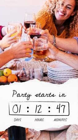 Plantilla de diseño de Online party announcement with people holding wine glasses Instagram Story