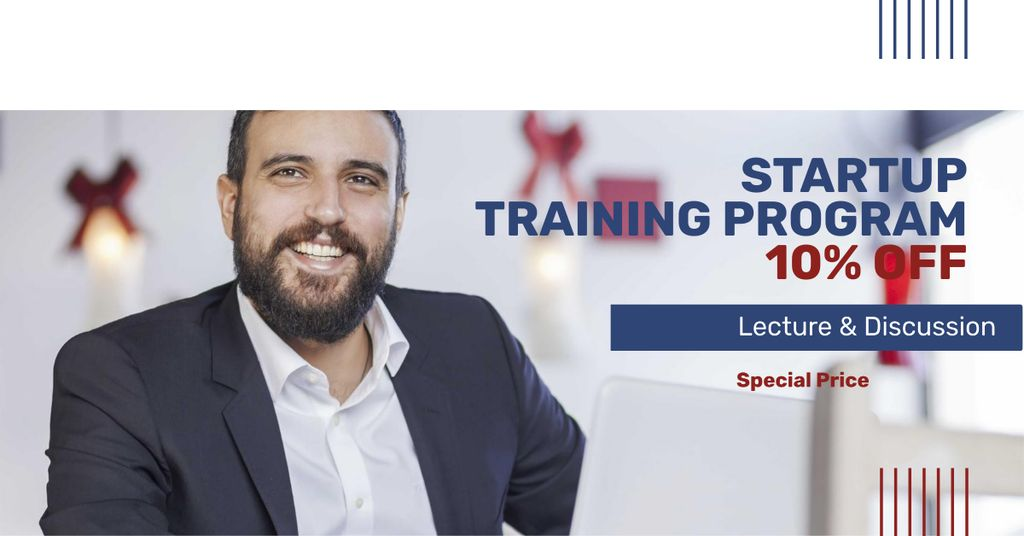 Startup Training Program Offer with Smiling Businessman — Створити дизайн