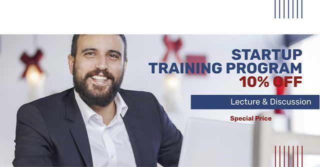 Plantilla de diseño de Startup Training Program Offer with Smiling Businessman Facebook AD