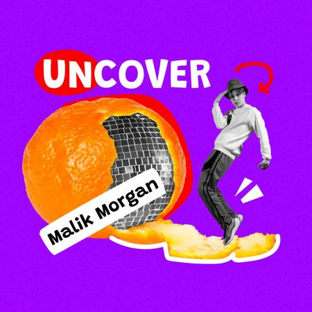 Funny Guy with Disco Ball in Orange Peel Album Coverデザインテンプレート