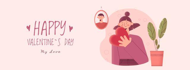 Plantilla de diseño de Girl in holding Heart on Valentine's Day Facebook Video cover