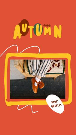 Template di design Kids Outfits Offer with Child in Autumn Shoes Instagram Video Story