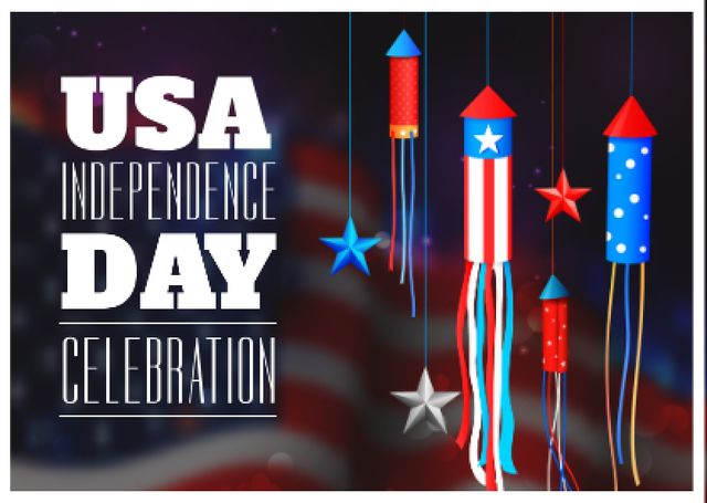 USA Independence Day Celebration Postcard – шаблон для дизайна