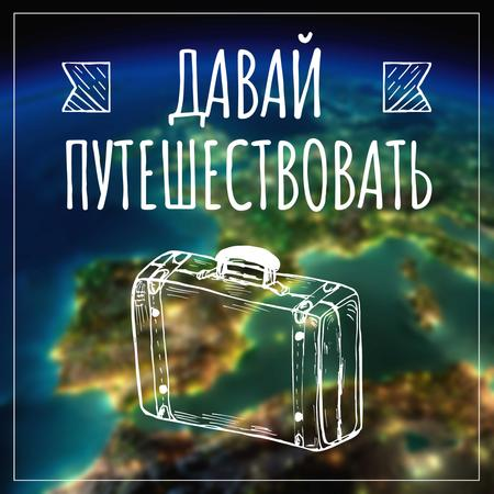Travel inspiration with Suitcase on Earth image Instagram AD – шаблон для дизайна