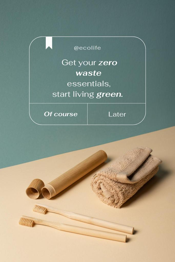 Zero Waste Concept with Wooden Toothbrushes Pinterest – шаблон для дизайна