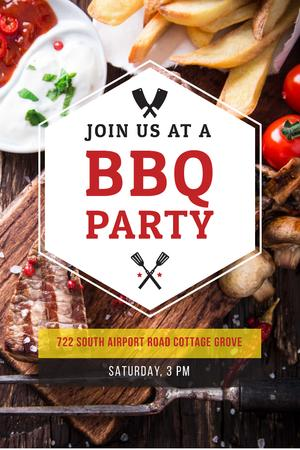 Ontwerpsjabloon van Pinterest van BBQ Party Invitation with Grilled Meat
