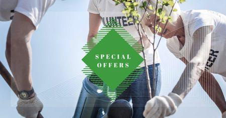 Volunteers plant a Tree Facebook AD Modelo de Design