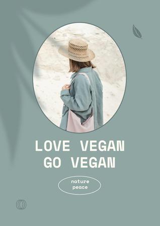 Designvorlage Vegan Lifestyle Concept with Girl in Summer Hat für Poster