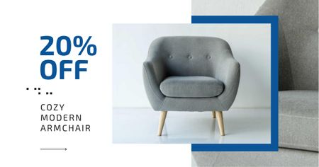 Ontwerpsjabloon van Facebook AD van Furniture Store Ad Armchair in Grey