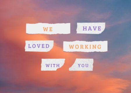 Thankful Phrase with Pink Sunset Clouds Card – шаблон для дизайну