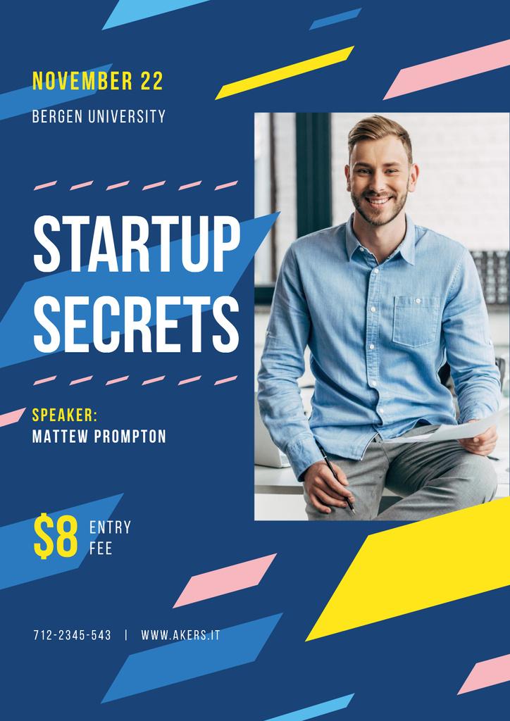 Business Event Announcement with Smiling Businessman — Maak een ontwerp