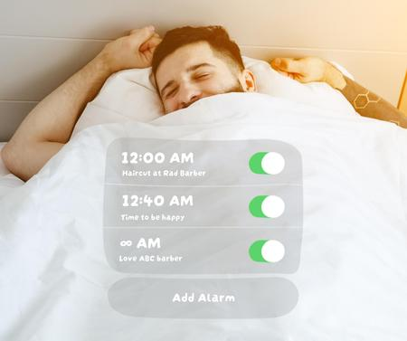 Happy Man in bed for Barbershop promotion Facebook Design Template