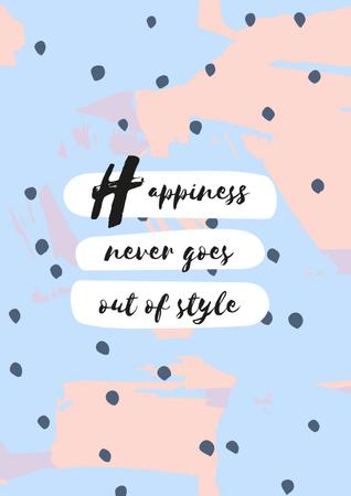 Happiness Quote on blue pattern Poster Design Template