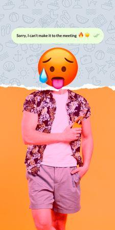 Funny Illustration of Hot Face Emoji with Male Body Graphic Modelo de Design