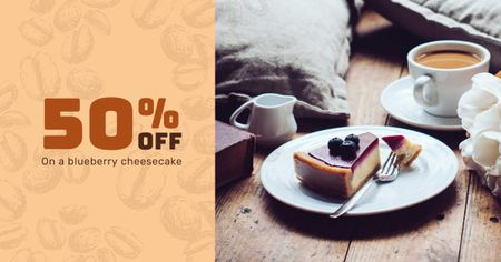 Bakery offer with Cheesecake Facebook AD Design Template