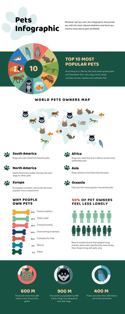 Map Infographics about World Pets Owners Infographic Tasarım Şablonu