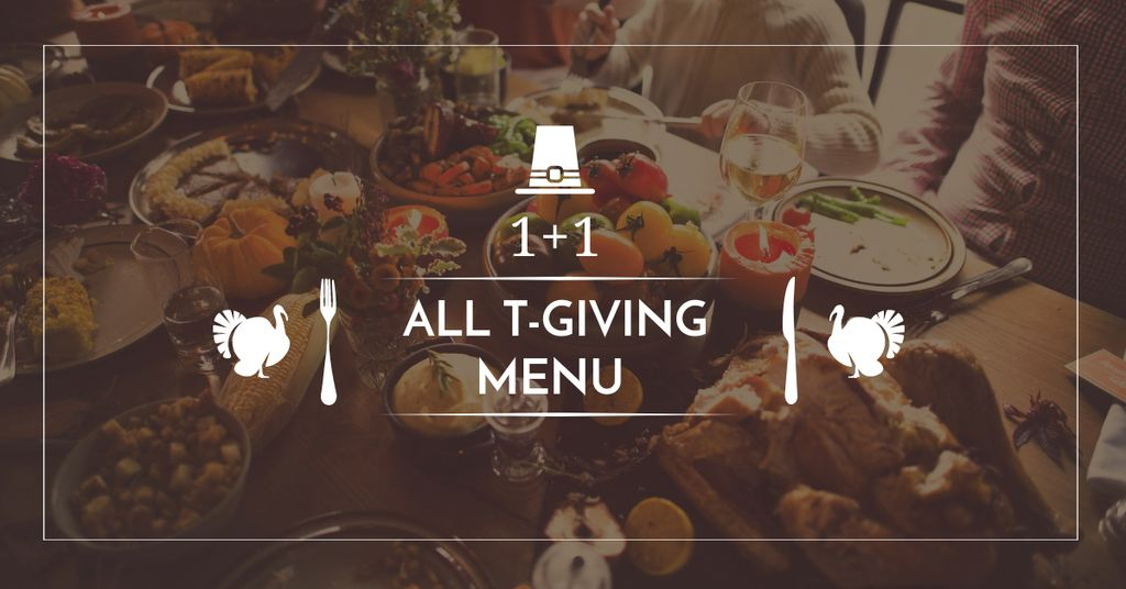 Thanksgiving Day Menu Offer with Dinner Table —デザインを作成する