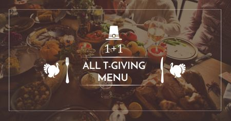 Ontwerpsjabloon van Facebook AD van Thanksgiving Day Menu Offer with Dinner Table