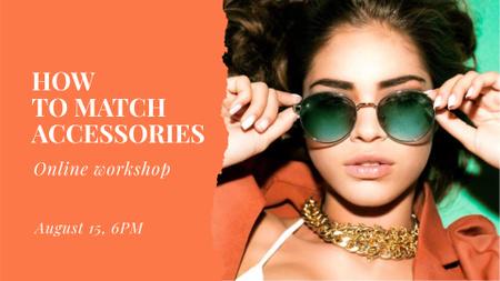 Modèle de visuel Fashion Online Workshop Announcement with Stylish Girl - FB event cover