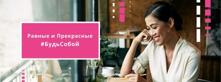 Women's Day Announcement with Confident Woman Facebook cover – шаблон для дизайна