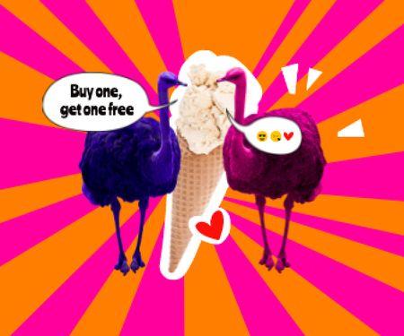 Funny Ostriches eating Big Ice Cream Large Rectangle – шаблон для дизайну