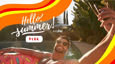 Designvorlage Summer Inspiration with Man relaxing in Pool für Youtube Thumbnail