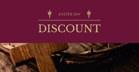 Modèle de visuel Easter Day Discount with Wooden Cross - Facebook AD