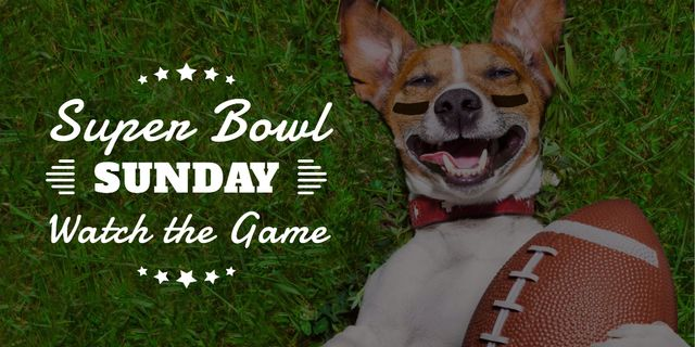 Designvorlage Super bowl advertisement poster with adorable dog and ball für Image