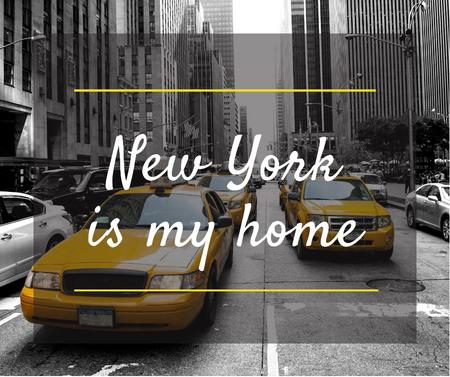 Ontwerpsjabloon van Facebook van Taxi Cars in New York city