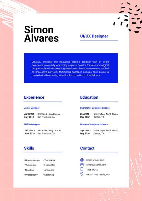 Template di design Web Designer skills and experience Resume