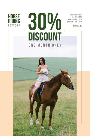 Template di design Riding School Promotion with Woman on Horse Pinterest